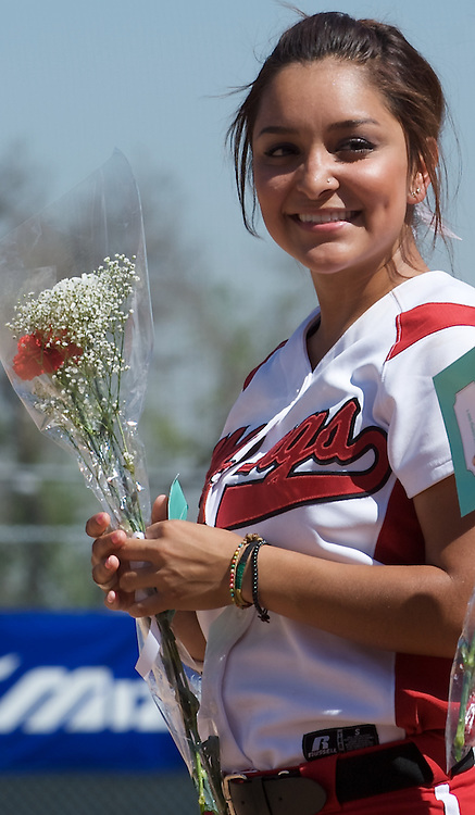 Karina Martinez smiles during pregame festivities against Mt. SAC at the LAC softball field on Tuesday April 21, 2009.  The Vikings lose the final regular season home game to Mt. SAC 5-1.