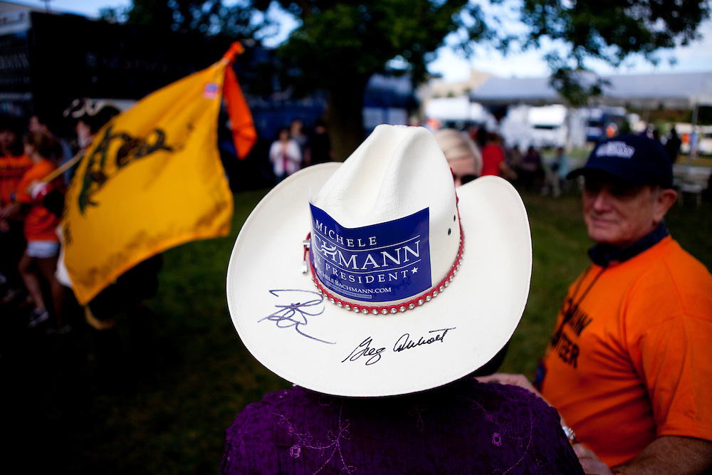 A supporter of Republican presidential hopeful Michele Bachmann at the Iowa Republican Straw Poll on Saturday, August 13, 2011 in Ames, IA.