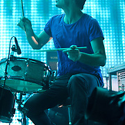 """WASHINGTON, DC - June 3rd, 2012 - Jonny Greenwood of Radiohead plays drums as the band performs the song """"Bloom"""" at the Verizon Center in Washington, D.C.  (Photo by Kyle Gustafson/For The Washington Post)"""