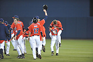 Mississippi's Brantley Bell (28) celebrates his game winning RBI single against Arkansas-Little Rock with teammates at Oxford-University Stadium in Oxford, Miss. on Friday, March 7, 2014. Mississippi won 2-1 in 10 innings. (AP Photo/Oxford Eagle, Bruce Newman)