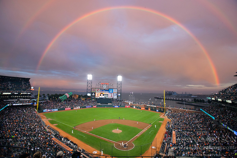 SAN FRANCISCO, CA - SEPTEMBER 05: General view of AT&T Park with a rainbow in the background during the first inning between the San Francisco Giants and the Arizona Diamondbacks on September 5, 2012 in San Francisco, California.  The Arizona Diamondbacks defeated the San Francisco Giants 6-2. (Photo by Jason O. Watson/Getty Images) *** Local Caption ***