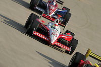 Ryan Briscoe and Buddy Rice at the Nashville Superspeedway, Firestone Indy 200, July 16, 2005