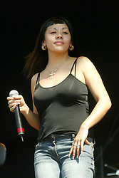 Mutya Buena of The Sugarbabes on the main stage, on Sunday 13th July, 2003 at T in the Park..Pic ©2010 Michael Schofield. All Rights Reserved.