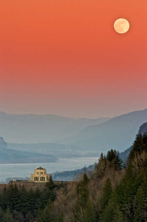 Moonrise in an earth shadow in the Columbia Gorge, Oregon.