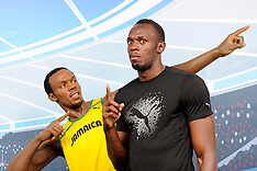 JULY 27 2013 Bolt Sees Double As He Meets His Madame Tussauds Twin