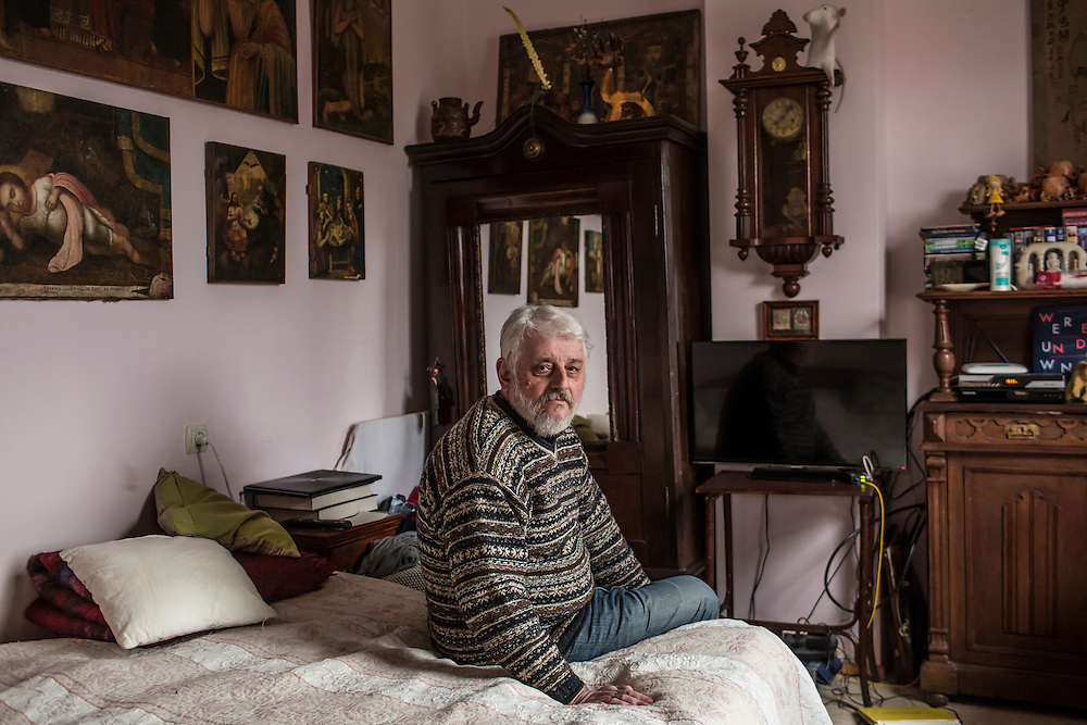 ODESSA, UKRAINE - MARCH 26, 2015: Poet Boris Khersonsky poses for a portrait at his home in Odessa, Ukraine. CREDIT: Brendan Hoffman for The New York Times