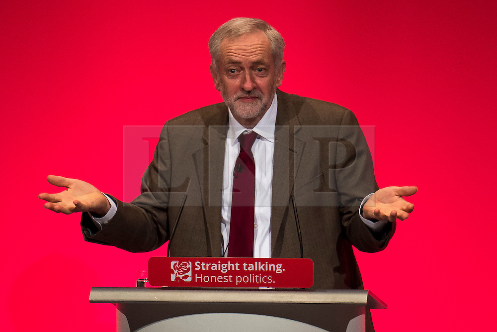 © Licensed to London News Pictures. 29/09/2015. Brighton, UK. Labour party leader JEREMY CORBYN delivering his leaders speech on day three of the 2015 Labour Party Conference, held at the Brighton Centre in Brighton, East Sussex.  Photo credit: Ben Cawthra/LNP