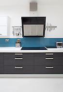 white modern kitchen units and cooker hood Kitchen interiors
