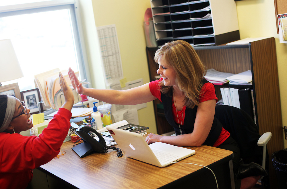 OEA member Kathi Gonzalez, a counselor at Mountain View High School in Bend, helps coordinate services for low income students and their families on Tuesday, Jan. 31, 2011.