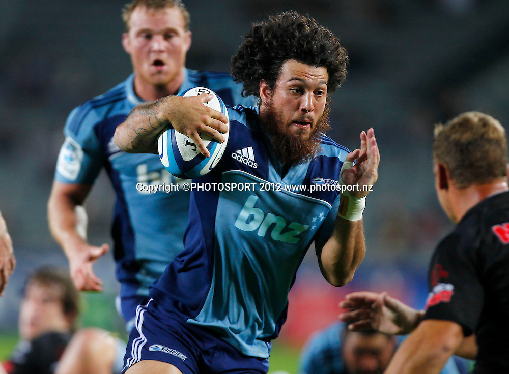 Rene Ranger of the Blues in action during the Super Rugby game between The Blues and The Sharks at Eden Park, Auckland New Zealand, Friday 13 April 2012. Photo: Simon Watts / photosport.co.nz
