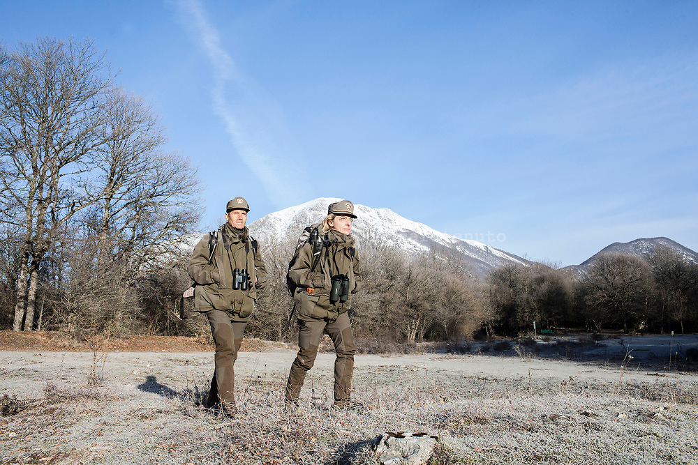 17 February 2017, AQ Italy - Guards of National Park of Abruzzo during a patrol around the Camosciara Natural Reserve.