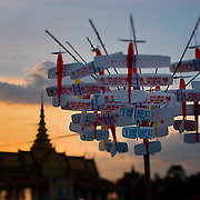 Toy planes are displayed for sale during the Water Festival in Phnom Penh, Cambodia. The festival is the largest the country has and brings an extra million people into the capitol.