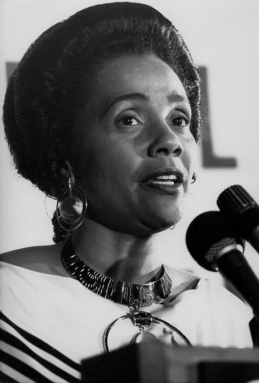 Coretta Scott King, widow of the slain civil rights leader Dr. Martin Luther King, Jr., at King's Ebenezer Baptist Church in Atlanta, Georgia.