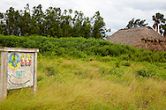 Farm sign and barn in the Macurije area, Pinar del Rio, Cuba.