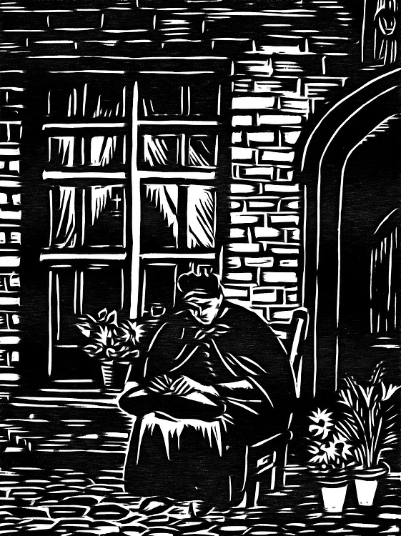 A black / white drawing of a lacemaking woman