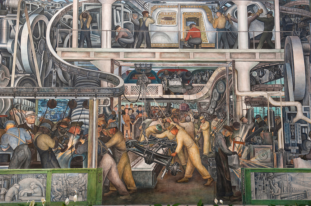 Rivera Court at DIA - Mexican muralist Diego Rivera (1886&ndash;1957) <br /> Art in Detroit 2013<br /> &copy; Stefan Falke<br /> www.stefanfalke.com<br /> <br /> The Detroit Industry fresco cycle was conceived by Mexican muralist Diego Rivera (1886&ndash;1957) as a tribute to the city's manufacturing base and labor force of the 1930s. Rivera completed the twenty-seven panel work in eleven months, from April 1932 to March 1933. It is considered the finest example of Mexican mural art in the United States, and the artist thought it the best work of his career.