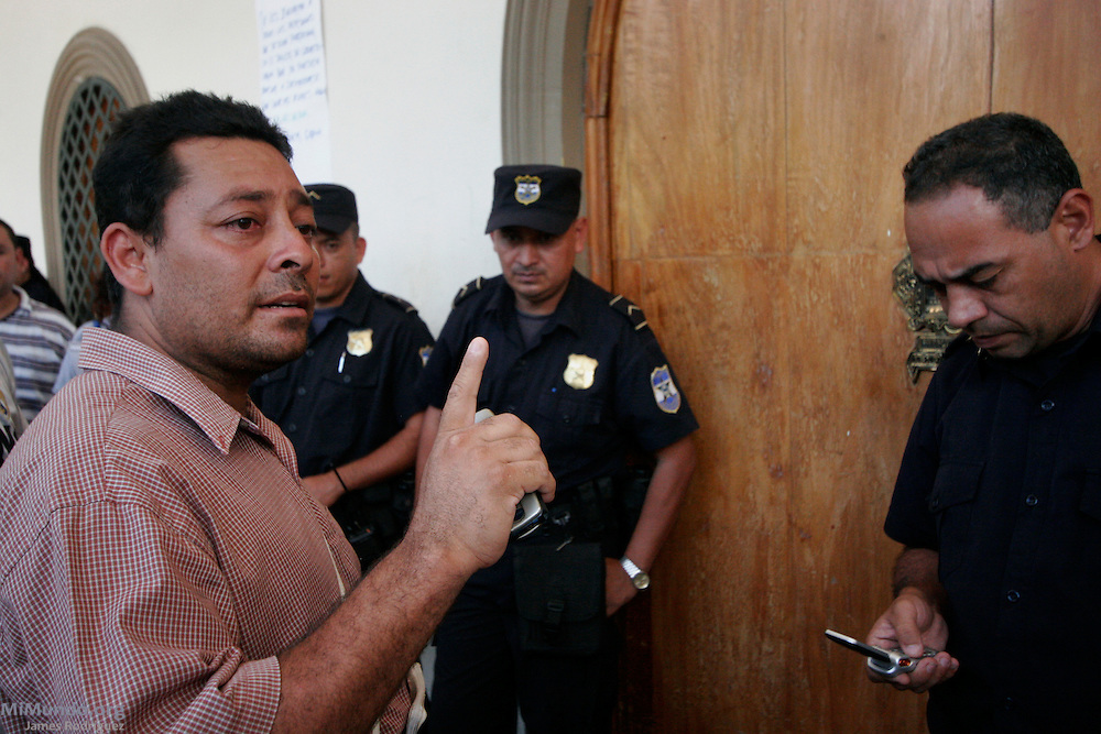 Nelson Ventura from the Comite Ambientalista de San Isidro leads a protest against the El Dorado Mining Project in the local municipal palace. The El Dorado project's exploitation license, owned by Canadian Pacific Rim Mining Corp., was revoked in 2008 due to health and environmental concerns. Pacific Rim has since filed an international arbitration proceedings against the Government of El Salvador under CAFTA-DR free trade agreement claiming significant loss. San Isidro, Cabañas, El Salvador. June 12, 2007.