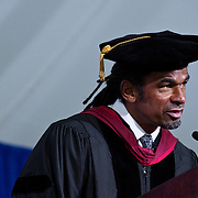 10/21/11 - Medford/Somerville, Mass. Julian Agyeman, Professor and Chair, Urban and Environmental Policy and Planning, delivers greetings and remarks on behalf of the faculty during the inauguration ceremony of Tufts University's thirteenth president, Anthony P. Monaco on Friday, October 21, 2011.   (Alonso Nichols/Tufts University)