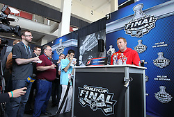 May 29; Newark, NJ, USA; New Jersey Devils goalie Martin Brodeur (30) during Stanley Cup Finals media practice day at the Prudential Center.