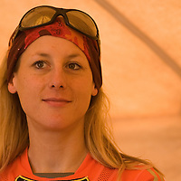 24 March 2007: 2006 winner Geraldine Courdesses of France stands during a press conference the day before the beginning of the 22nd Marathon des Sables, a 6 days and 151 miles endurance race with food self sufficiency across the Sahara Desert in Morocco. Each participant must carry his, or her, own backpack containing food, sleeping gear and other material.