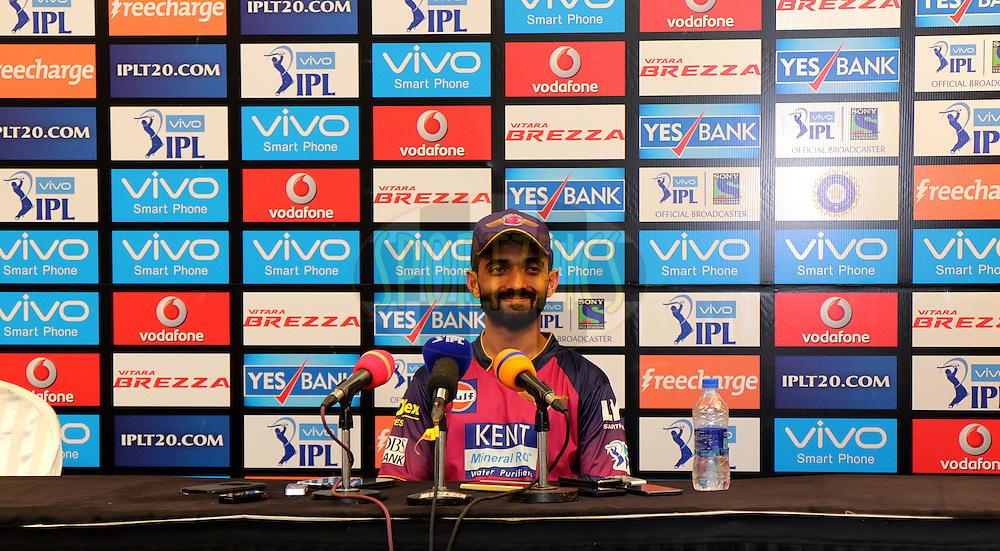 Ajinkya Rahane of RPS at the Press Confrence after the during match 1 of the Vivo Indian Premier League ( IPL ) 2016 between the Mumbai Indians and the Rising Pune Supergiants held at the Wankhede Stadium in Mumbai on the 9th April 2016<br /> <br /> Photo by Rahul Gulati/ IPL/ SPORTZPICS