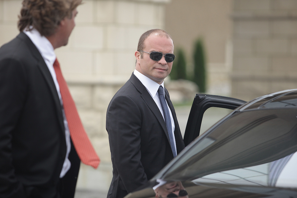 Former Toronto Maple Leafs enforcer Tie Domi talks with other mourners at the funeral for Detroit Red Wings tough guy Bob Probert in Windsor, Ontario,July 9, 2010, after Probert's sudden death earlier this week at the age of 45.<br /> The Canadian Press/GEOFF ROBINS