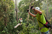 Jungle Flight zip line and forest canopy tour; Chiang Mai, Thailand.; Chiang Mai, Thailand.