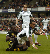 Wycombe, ENGLAND, Exiles Centre, Dominic  Feau'nati, scoring the opening try, in the opening minutes of the Guinness Premiership Rugby match -  London Wasps vs London Irish  at the, Causeway Stadium, High Wycombe, © Peter Spurrier/Intersport-images.com,  / Mobile +44 [0] 7973 819 551 / email images@intersport-images.com.
