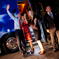 TAMPA, FL -- October 25, 2010 -- Republican candidate for governor Rick Scott waves to supporters with wife, Ann, and daughter, Jordan, while loading on the bus at a post-debate rally in Tampa, Fla., on Monday, September 25, 2010.  Scott was kicking off his final week of campaigning in the heated race for Florida Governor against Democrat Alex Sink.