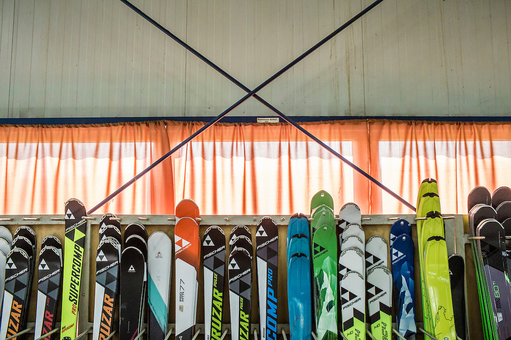 MUKACHEVO, UKRAINE - FEBRUARY 25, 2016: Some of the 2016 model skis produced at the Fischer-Mukachevo factory in Mukachevo, Ukraine. The plant fabricates skis as well as hockey sticks, many of which are produced for export. CREDIT: Brendan Hoffman for The New York Times