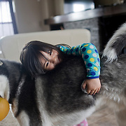 Muzhda Azizi age 4 seen with her uncle Javid Dost's dog Tyson. For a follow up story on the Dost family. A family of Afghans who escaped the war in Afghanistan in the 1990's, escaped to Pakistan and immigrated to Canada in 2004 as refugees and now live in Winnipeg, Manitoba. (Credit Image: © Louie Palu/ZUMA Press)