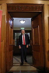 &copy; Licensed to London News Pictures. 20/04/2017. London, UK. Labour Party leader JEREMY CORBYN delivers his first election campaign speech at Church House - where the Church of England  General Synod usually meet -<br />  in Westminster, London.. Campaigning has begun for a snap election which was called by British Prime Minister Theresa May, earlier this week. Photo credit: Peter Macdiarmid/LNP