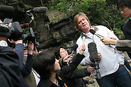 Tim Blackman ( father of murdered UK national Lucy), talks with Japanese press after paying his their respects to murdered daughter Lucy by visiting the cave and drinking champagne in her memory on the beach where her dismembered body was found, Aburatsubo beach, near Tokyo, Japan on Monday, April 23rd 2007.  The verdict will be announced in the trial of Joji Obara for Lucy Blackman's murder (and rapes of other women) on Tuesday April 24th 2007,