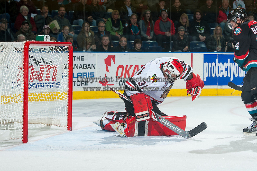 KELOWNA, CANADA - NOVEMBER 22: Adin Hill #31 of Portland Winterhawks makes a glove save against the Kelowna Rockets on November 22, 2014 at Prospera Place in Kelowna, British Columbia, Canada.  (Photo by Marissa Baecker/Shoot the Breeze)  *** Local Caption *** Adin Hill';