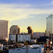 Downtown Phoenix city skyline at dusk, shot from Phoenix library.