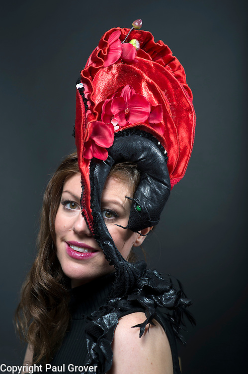 Milliner Natalie Ellner pictured in her studio wearing one of her creations Kawarimono Mask a headpiece one 1 of 11 that she is providing to dress each set of guests with spectacular animal masks and headgear at the Animal Ball 2016 on November 22nd, the world's greatest fashion houses will collaborate to dress a bestiary of beautiful creatures from all corners of British society to celebrate and protect nature's greatest masterpieces