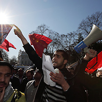 People from Bahrain, Syria, ans Saudi Arabia protest outside the Bahraini Embassy, and then march to Saudi Embassy London, UK, 19/030/2011