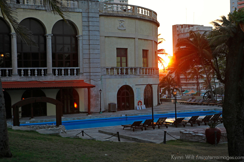 Central America, Cuba, Havana. Pool of Hotel Nacional de Cuba, an iconic landmark in Havana.