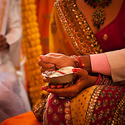 Bride and groom hold hands during a Hindu wedding in Delhi