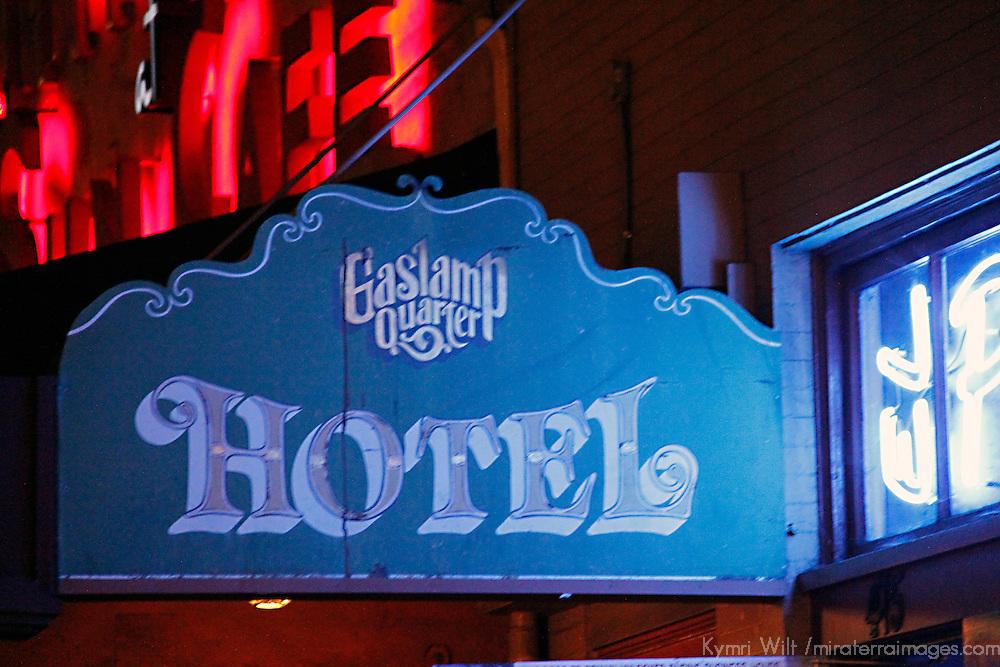USA, California, San Diego. Market Street Gaslamp Quarter Hotel sign.