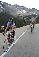 Jesse Mather rides to the summit of Loveland Pass during the 2004 Ride The Rockies multi-day tour sponsored by the Denver Post.
