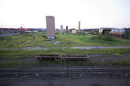 As the sun sets, we find this view of an old portion of the giant ArcelorMittal steel mill in East Chicago from the abandoned Cline Ave.