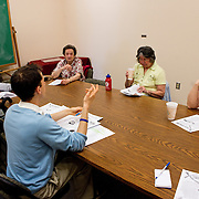 Tufts Friedman School student Seth Coburn leads Fit-4-Life, a group dietary counseling program geared towards older adults, at the Somerville Senior Center in the Tufts Administration Building. (Ian MacLellan for Tufts University)
