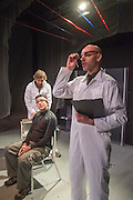 14/11/2012. London, UK. Cira Luna Theatre present the first UK staging of Stanislaw Lem's 1961 cult classic Solaris, directed by Dimitri Devdariani, at the Courtyard Theatre, London. Picture shows: John Exell (Dr. Church), Murray Simon (Gibarian) & Charles Church (Kris Kelvin).