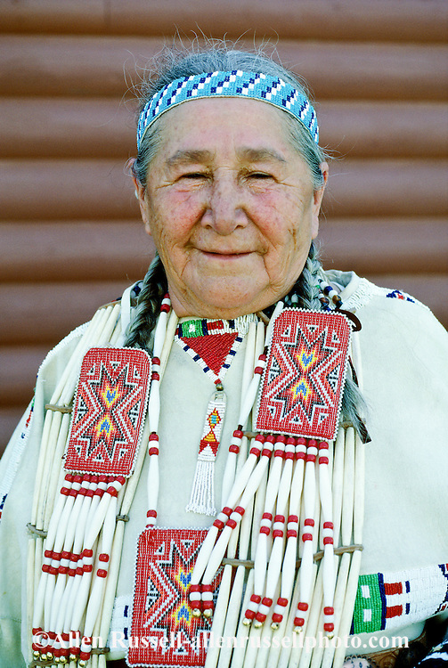 Pine Ridge Sioux Indian Reservation, South Dakota, Oglala Sioux (Lakota) Indian Elder Ida Tobacco