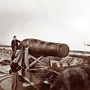 "Guarding the mouth of the Chesapeake Bay and Hampton Roads at Fort Monroe, Virginia. The ""Lincoln Gun,"" a 15-inch Rodman Columbiad during the Civil War. Union Coastal Artillery"