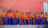 AMSTERDAM - COPYRIGHT ROBIN UTRECHT de hockeyvrouwen en Maurits Hendriks , technisch directeur NOC*NSF <br /> 23-08-2016 ALGEMEEN: HULDIGING THUISKOMST TEAMNL: AMSTERDAM RAI