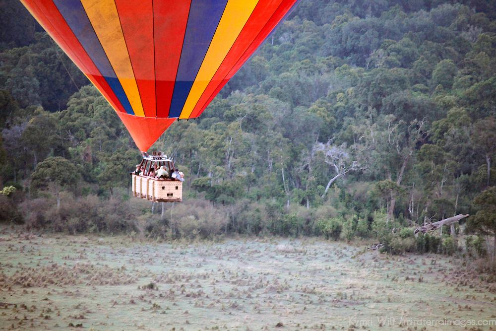Africa, Kenya, Maasai Mara. Hot-Air Balloon basket over the Maasai Mara.