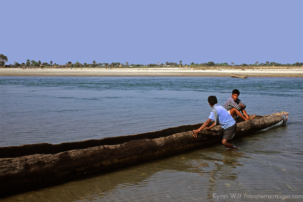 Asia, Nepal, Bardia. Dug Out Canoe in Bardia