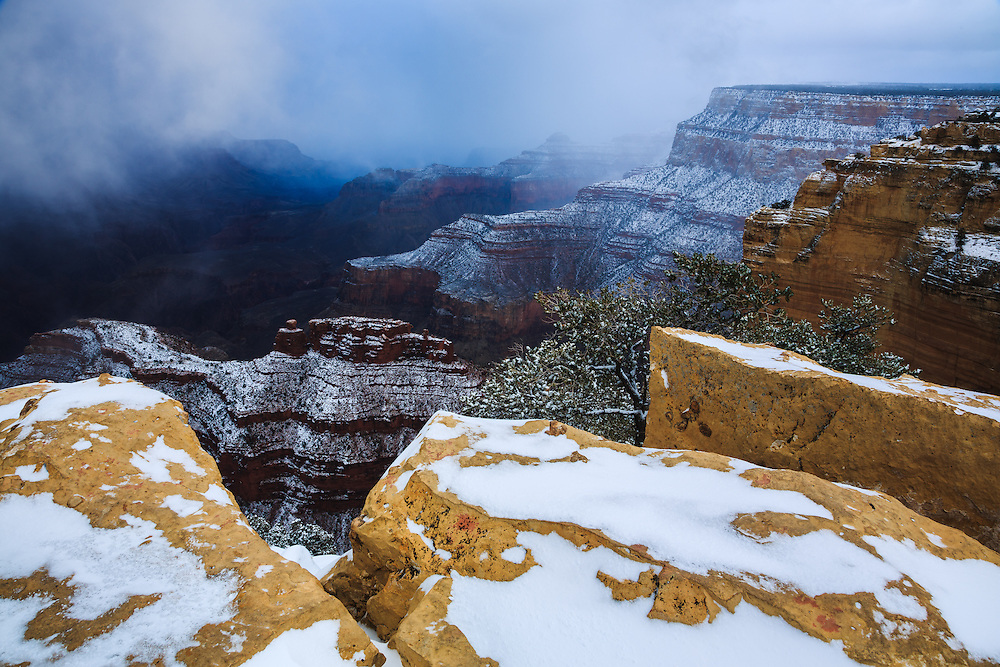 A winter storm at the Grand Canyon.